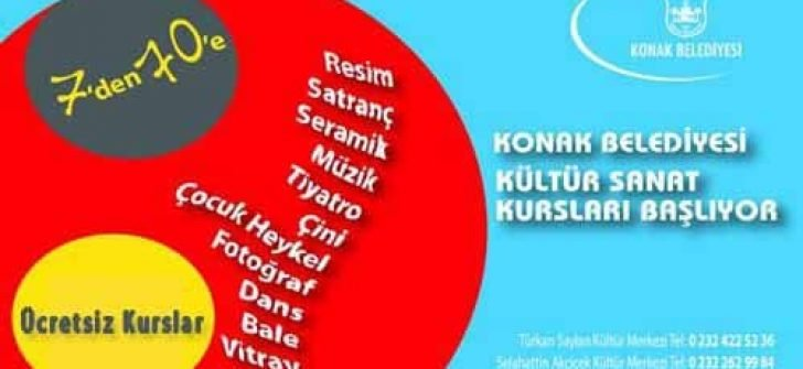 İzmir Konak Belediyesi Ücretsiz Kurslar