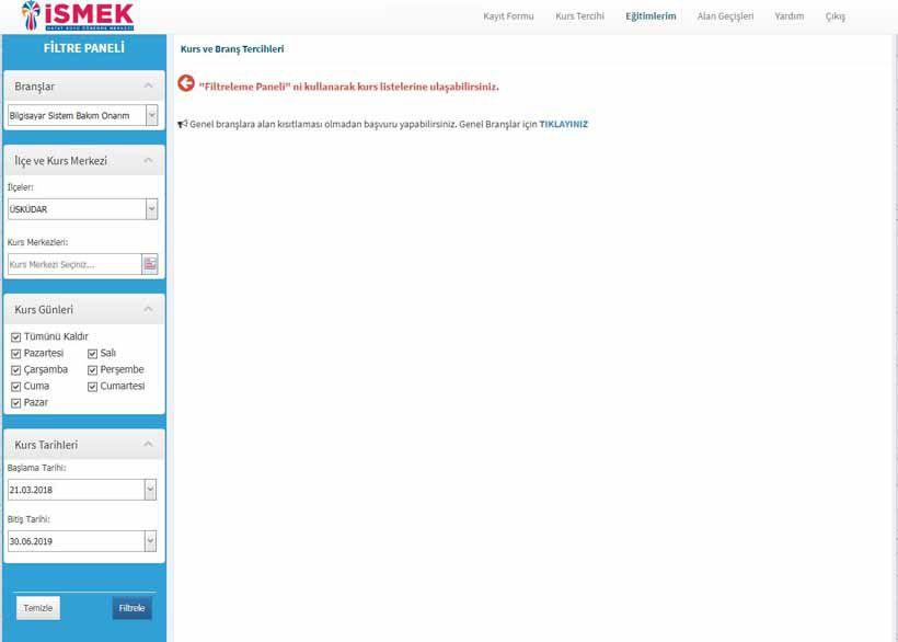 İsmek Kurs Onilne Kayıt İşlemleri Filitre Paneli